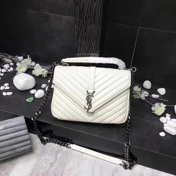 YSL Classic Monogramme White Leather Flap Bag Y392737 Silver
