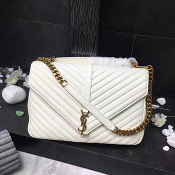 YSL Classic Monogramme White Leather Flap Bag Y392738 Gold