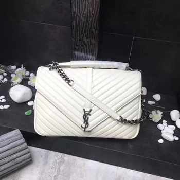 YSL Classic Monogramme White Leather Flap Bag Y392738 Silver