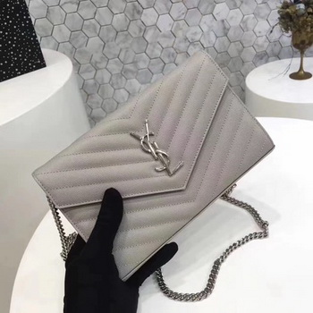 YSL WOC Classic Monogramme Flap Bag Cannage Pattern Y1003 Grey