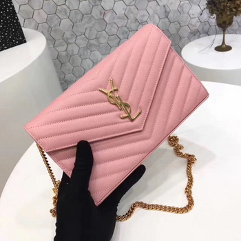 YSL WOC Classic Monogramme Flap Bag Cannage Pattern Y1003 Pink