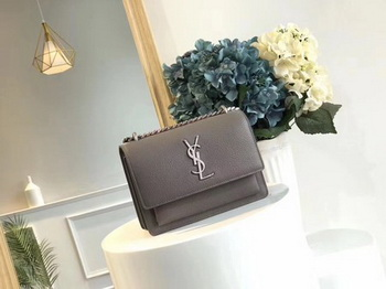 Yves Saint Laurent Leather Cross-body Shoulder Bag Y8004 Grey