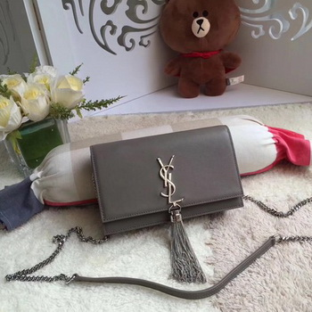 Yves Saint Laurent Leather Cross-body Shoulder Bag Y8011 Grey