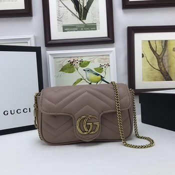 Gucci GG Marmont Matelasse Leather Super Mini Bag 476433 Pink