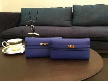 Hermes Kelly Epsom Leather Wallet H4086 Blue