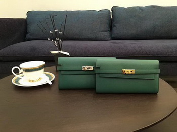 Hermes Kelly Epsom Leather Wallet H4086 Green