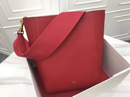CELINE Sangle Seau Bag in Suede Leather C3371S Red