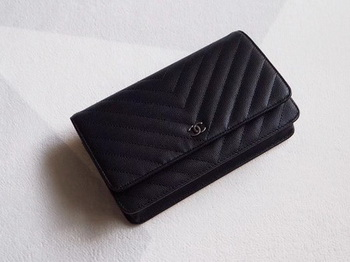 Chanel V mini Flap Bag Black Chevron Cannage Pattern A33814V Silver