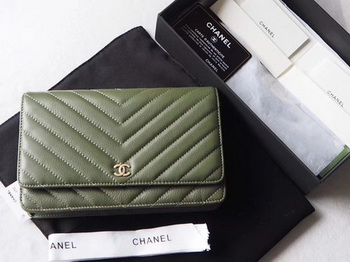 Chanel V mini Flap Bag Chevron Sheepskin Leather A33814V Green