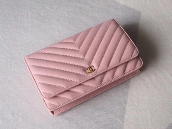 Chanel V mini Flap Bag Chevron Sheepskin Leather A33814V Pink