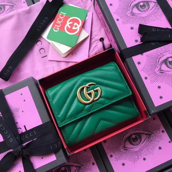 Gucci GG Marmont Matelasse Wallet 474802 Green