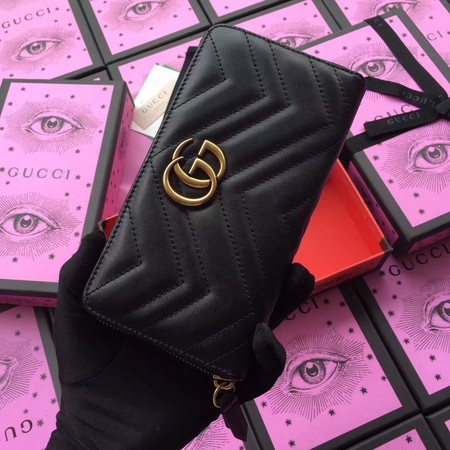 Gucci GG Marmont Zip Around Wallet 443123 Black