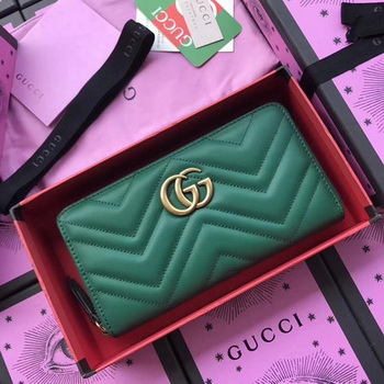Gucci GG Marmont Zip Around Wallet 443123 Green