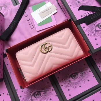 Gucci GG Marmont Zip Around Wallet 443123 Pink