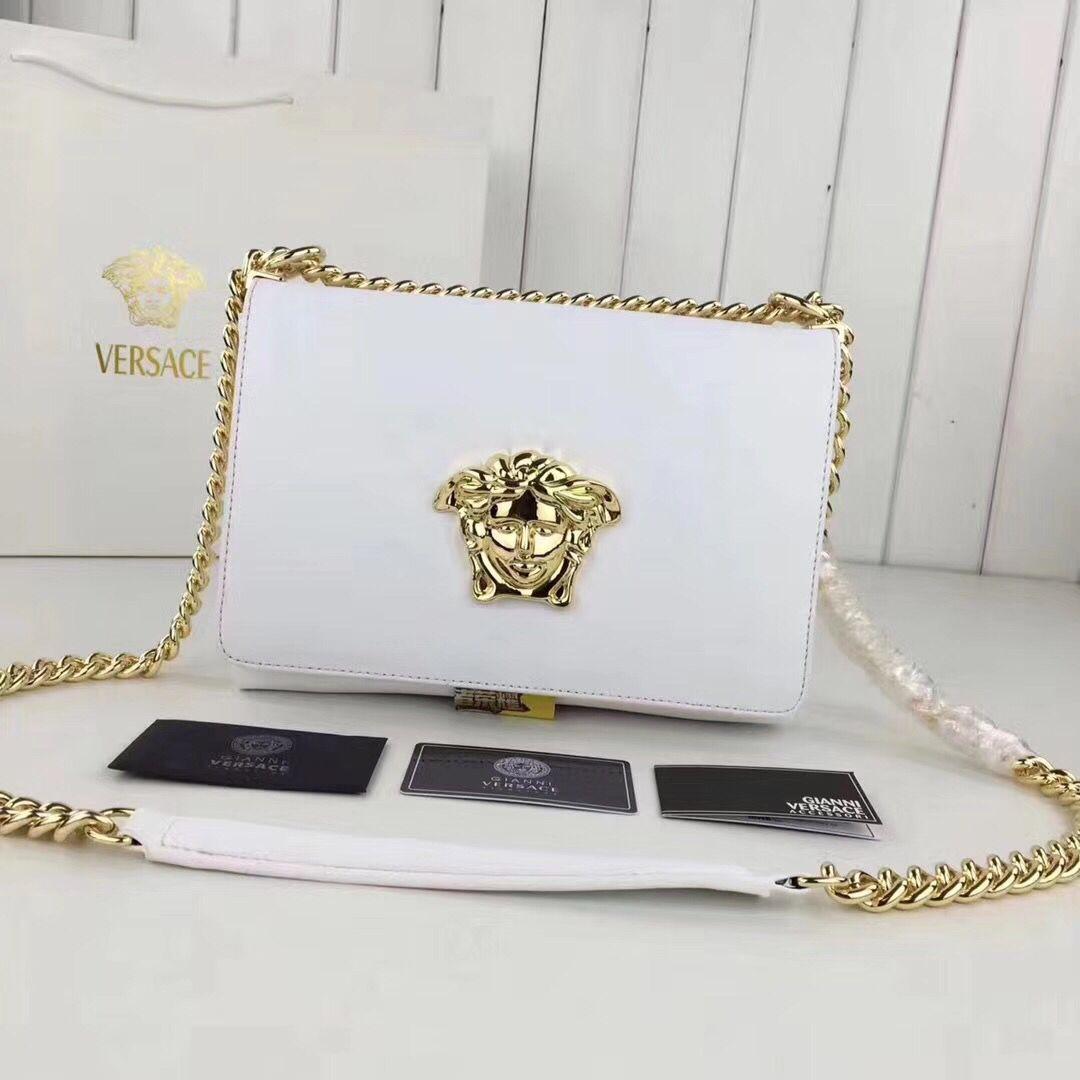 Versace Calfskin Leather Shoulder Bag VS170 White