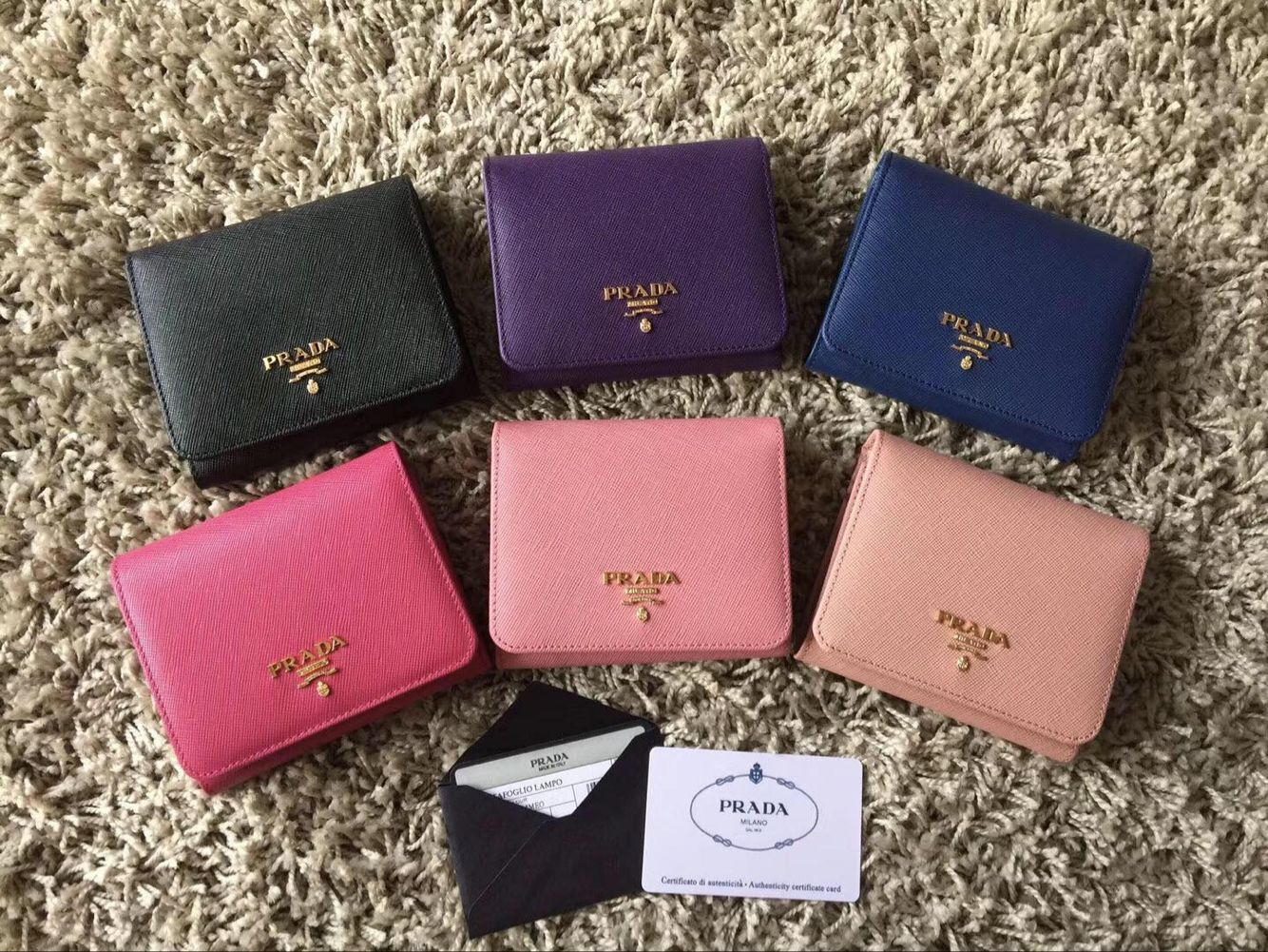 Prada Saffiano Leather Tri-Fold Wallet 1MH524