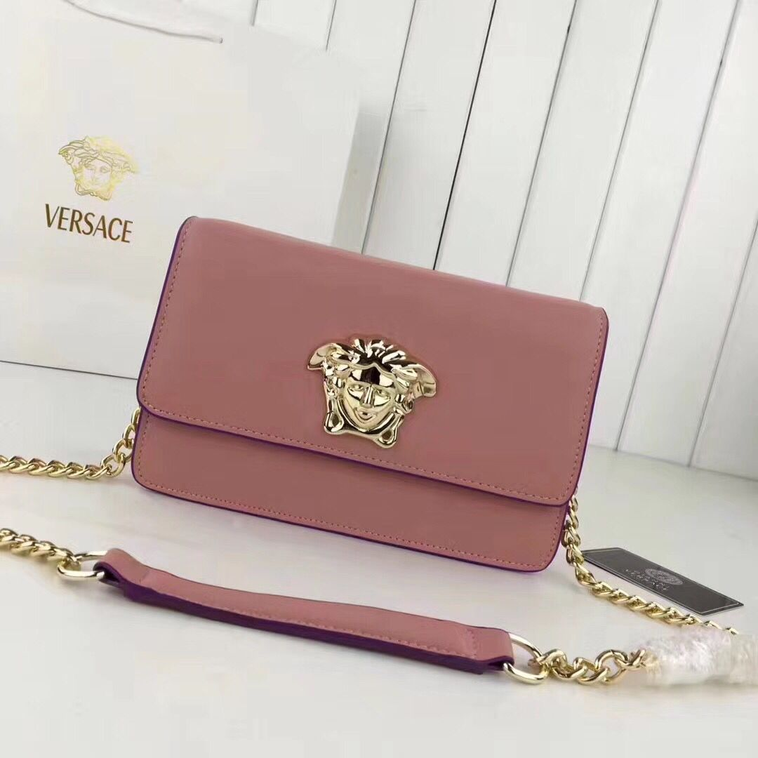 Versace 2017 Calfskin Leather Shoulder Bag 7203 Pink