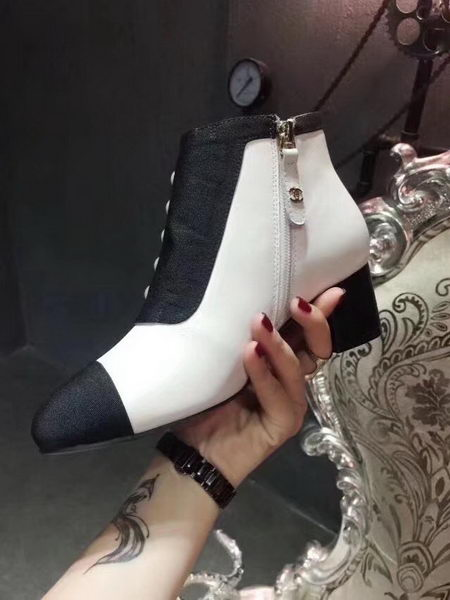 Chanel Ankle Boot Leather CH2213 White