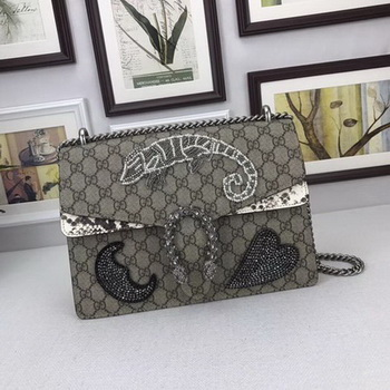 Gucci Dionysus Embroidered Shoulder Bag 403348 Grey