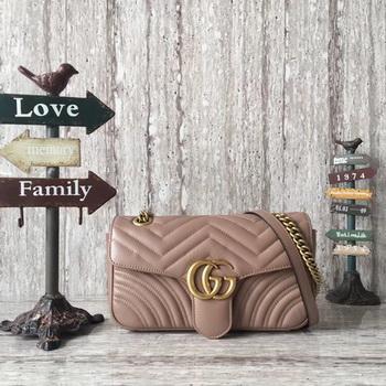 Gucci GG Marmont Matelasse Leather Shoulder Bag 443497 Apricot