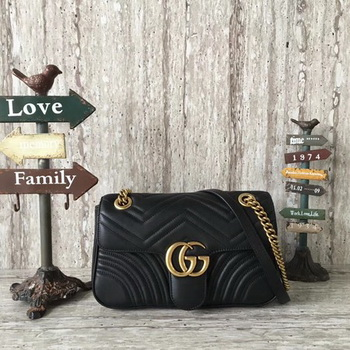 Gucci GG Marmont Matelasse Leather Shoulder Bag 443497 Black