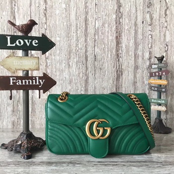 Gucci GG Marmont Matelasse Leather Shoulder Bag 443497 Green