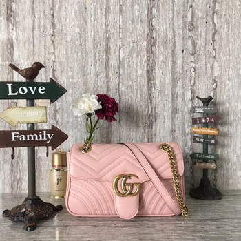 Gucci GG Marmont Matelasse Leather Shoulder Bag 443497 Pink