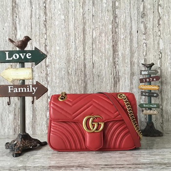 Gucci GG Marmont Matelasse Shoulder Bag 443497 Red