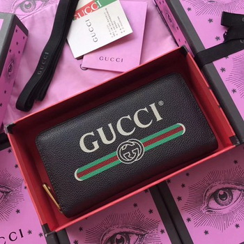 Gucci Gucci Print Leather Zip Around Wallet ‎496317 Black