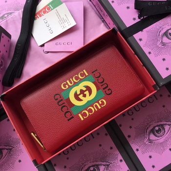 Gucci Gucci Print Leather Zip Around Wallet ‎496317 Red