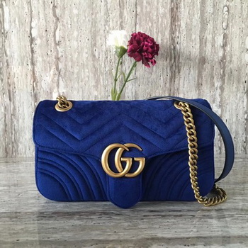 Gucci 443497 GG Marmont Chevron Velvet Shoulder Bag Blue