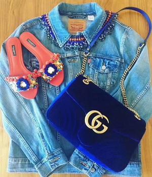 Gucci GG Marmont Chevron Velvet Shoulder Bag 443497 Blue