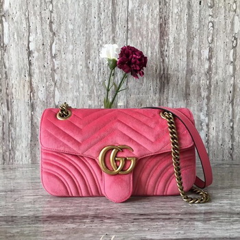 Gucci GG Marmont Chevron Velvet Shoulder Bag 443497 Pink