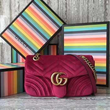 Gucci GG Marmont Chevron Velvet Shoulder Bag 443497 Rose