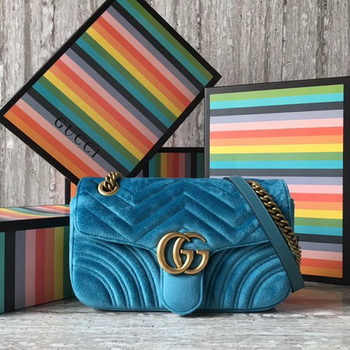 Gucci GG Marmont Chevron Velvet Shoulder Bag 443497 SkyBlue