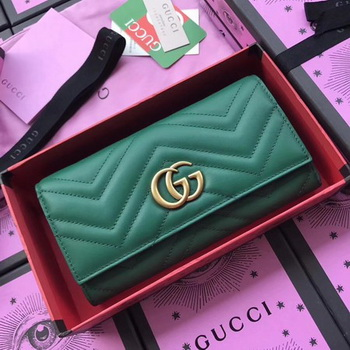 Gucci GG Marmont Continental Wallet 443436 Green