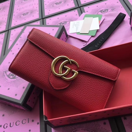 Gucci GG Marmont Matelasse Leather Wallet 400586 Red