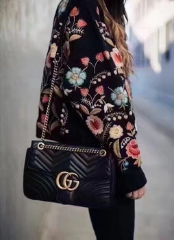 Gucci GG Marmont Matelasse Shoulder Bag 443496 Black