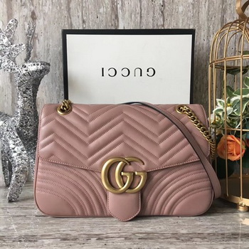 Gucci GG Marmont Matelasse Shoulder Bag 443496 Pink