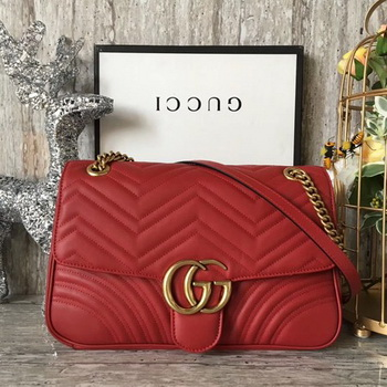 Gucci GG Marmont Matelasse Shoulder Bag 443496 Red