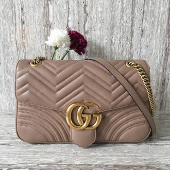 Gucci Now GG Marmont Matelasse Shoulder Bag 443496 Apricot