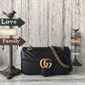 Gucci Now GG Marmont Matelasse Shoulder Bag 443496 Black