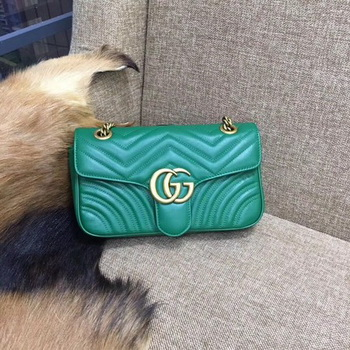 Gucci Now GG Marmont Matelasse Shoulder Bag 443496 Green