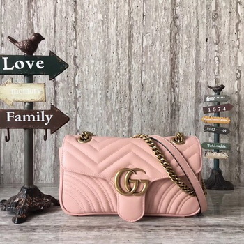 Gucci Now GG Marmont Matelasse Shoulder Bag 443496 Pink