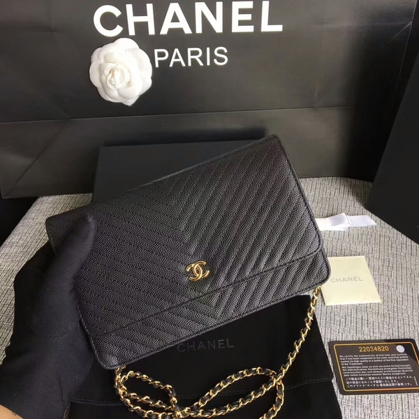 Chanel WOC Flap Shoulder Bag Black Calfskin A33814 Gold