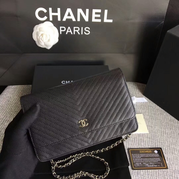 Chanel WOC Flap Shoulder Bag Black Calfskin A33814 Silver