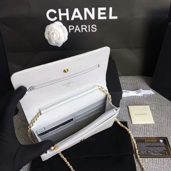Chanel WOC Flap Shoulder Bag White Calfskin A33814 Gold