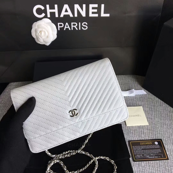 Chanel WOC Flap Shoulder Bag White Calfskin A33814 Silver