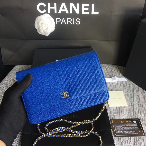 Chanel WOC Flap Shoulder Bag Blue Calfskin Leather A33814 Gold