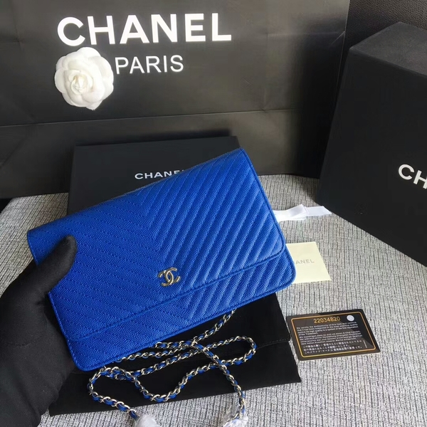 Chanel WOC Flap Shoulder Bag Blue Calfskin Leather A33814 Silver